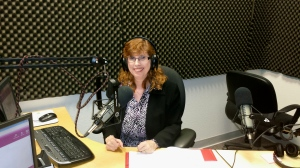 Anna Jaworski at the VoiceAmerica studio.